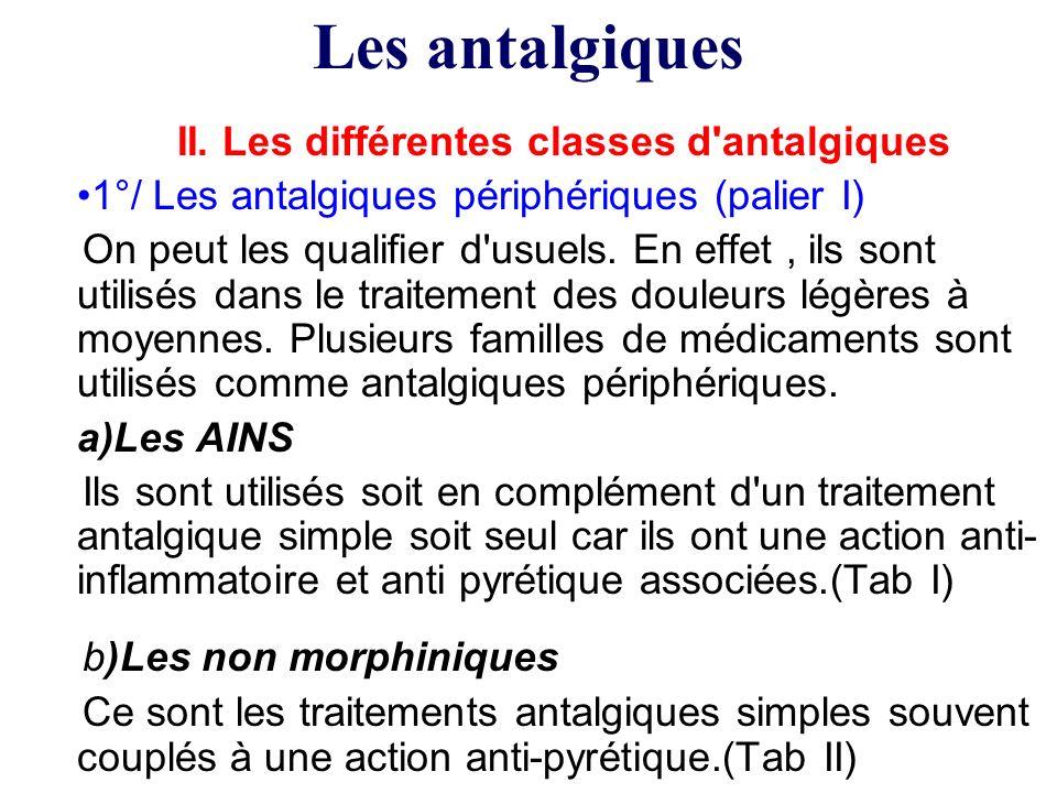 II. Les différentes classes d antalgiques