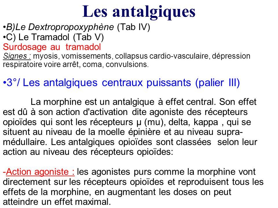 Les antalgiques 3°/ Les antalgiques centraux puissants (palier III)