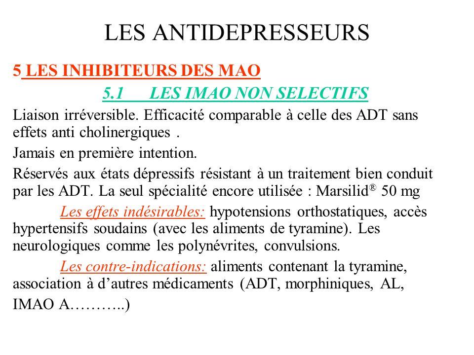 LES ANTIDEPRESSEURS LES INHIBITEURS DES MAO 5.1 LES IMAO NON SELECTIFS