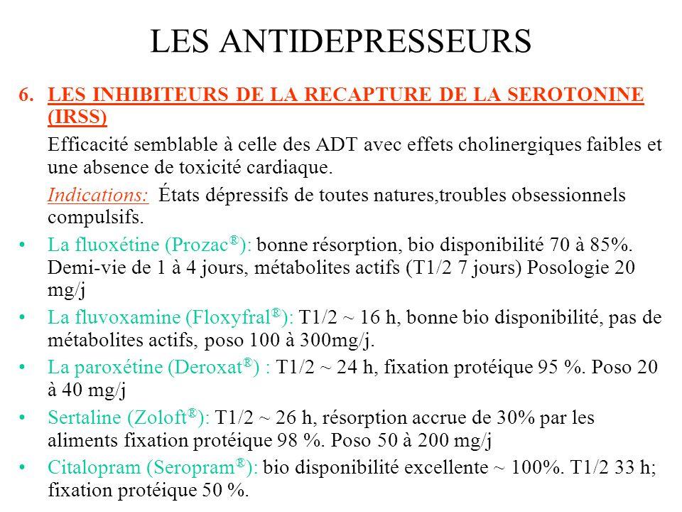 LES ANTIDEPRESSEURSLES INHIBITEURS DE LA RECAPTURE DE LA SEROTONINE (IRSS)