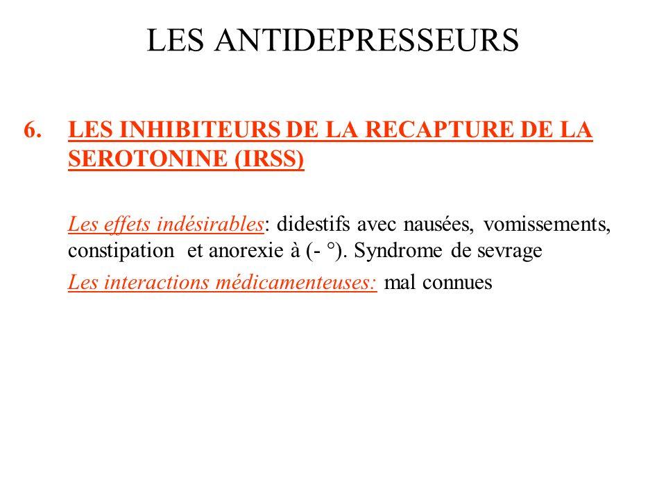 LES ANTIDEPRESSEURS LES INHIBITEURS DE LA RECAPTURE DE LA SEROTONINE (IRSS)