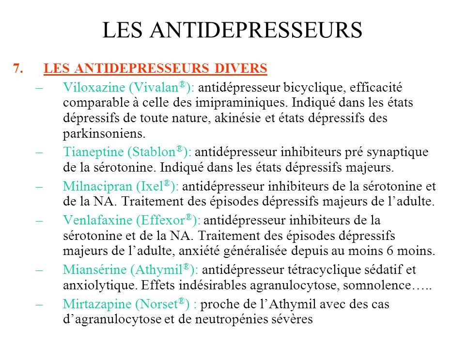 LES ANTIDEPRESSEURS LES ANTIDEPRESSEURS DIVERS