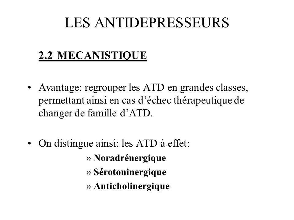 LES ANTIDEPRESSEURS 2.2 MECANISTIQUE