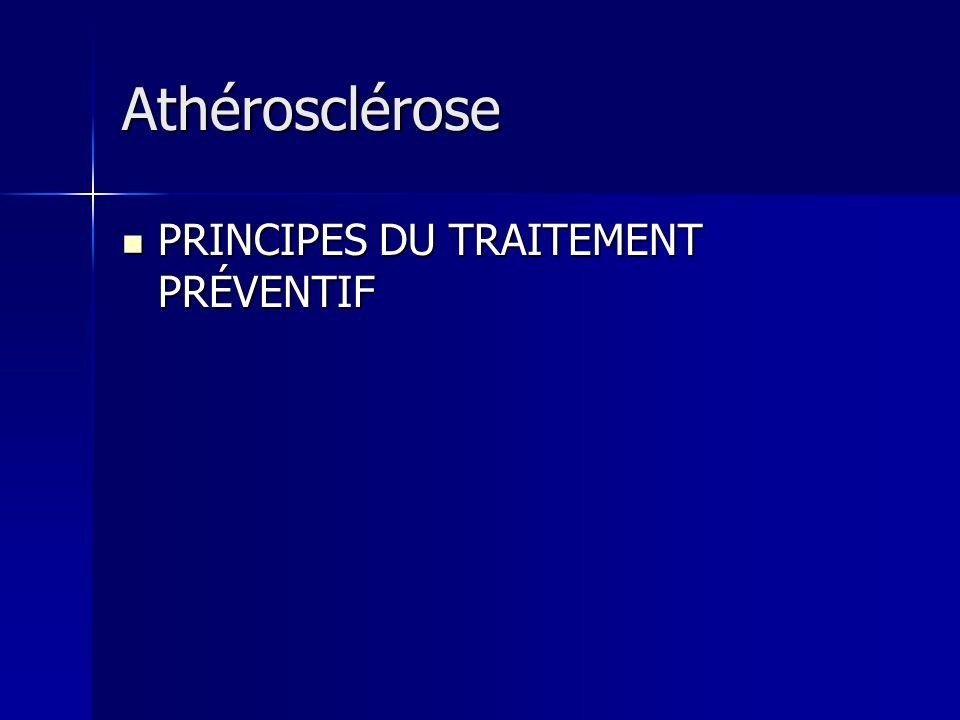 Athérosclérose PRINCIPES DU TRAITEMENT PRÉVENTIF