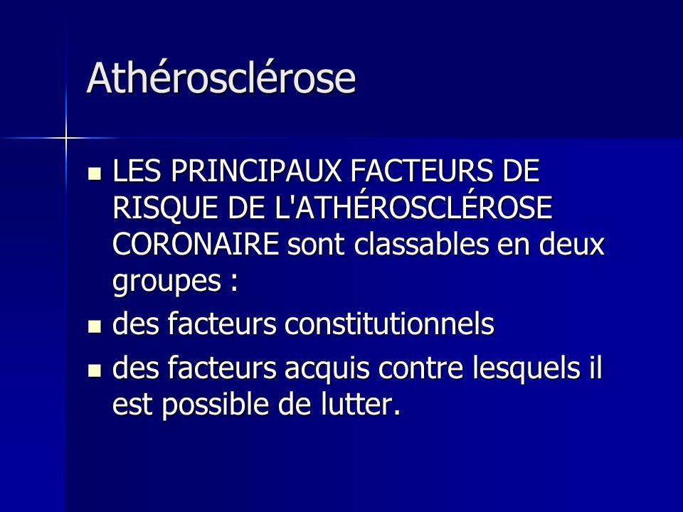 Athérosclérose LES PRINCIPAUX FACTEURS DE RISQUE DE L ATHÉROSCLÉROSE CORONAIRE sont classables en deux groupes :