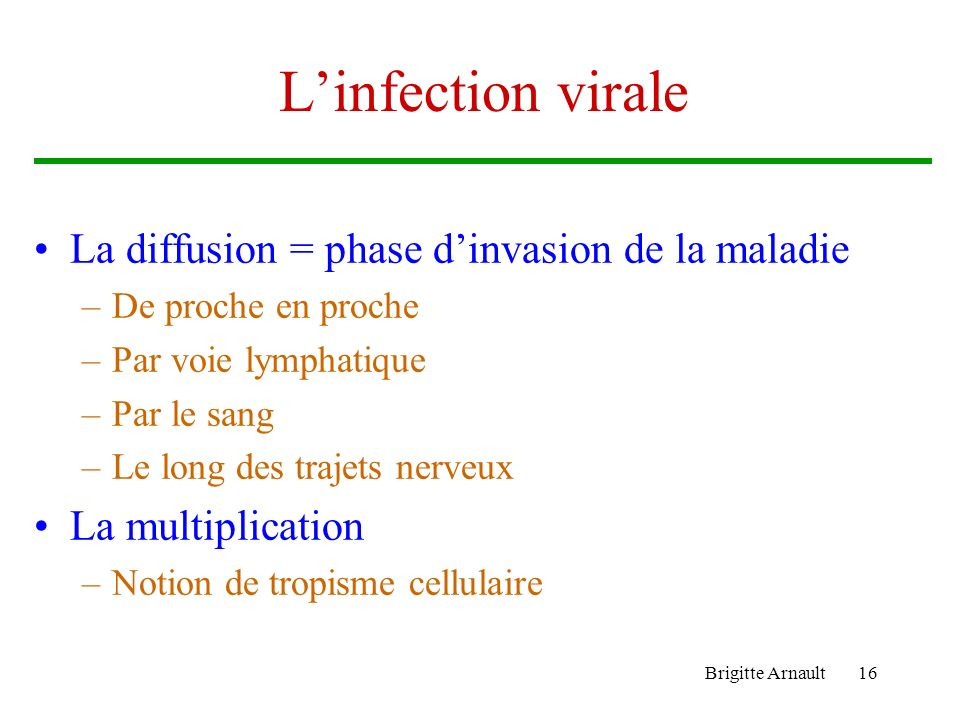 L'infection virale La diffusion = phase d'invasion de la maladie