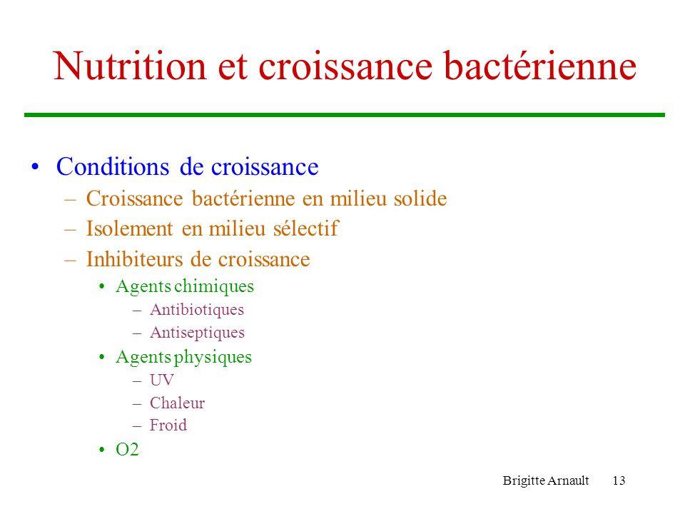 Nutrition et croissance bactérienne