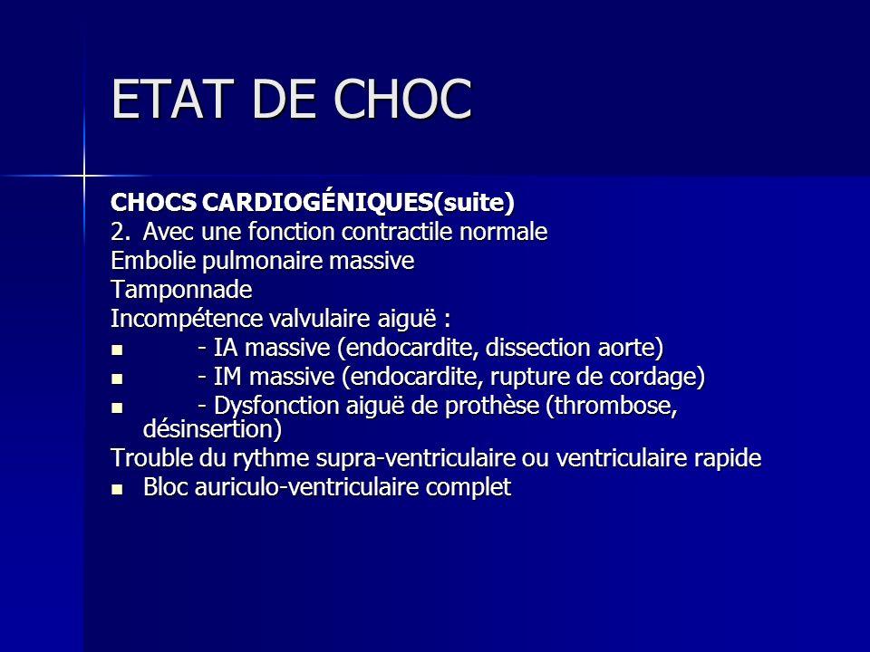 ETAT DE CHOC CHOCS CARDIOGÉNIQUES(suite)