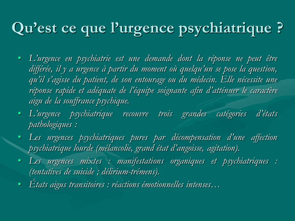 Qu'est ce que l'urgence psychiatrique