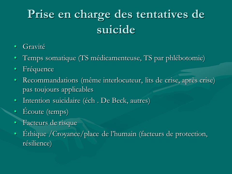 Prise en charge des tentatives de suicide