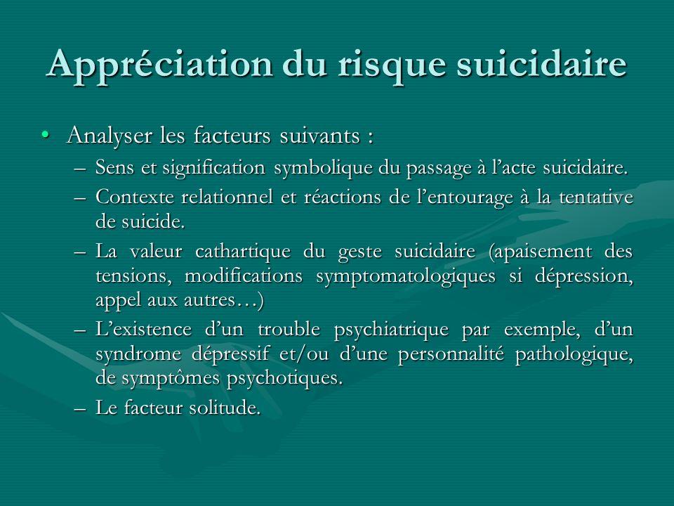 Appréciation du risque suicidaire