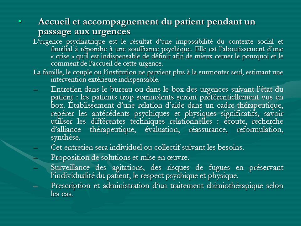 Accueil et accompagnement du patient pendant un passage aux urgences