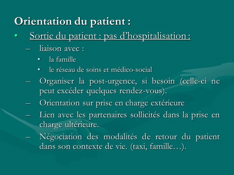Orientation du patient :
