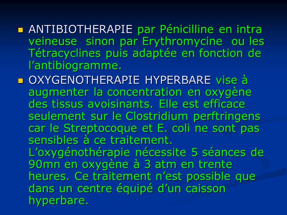 ANTIBIOTHERAPIE par Pénicilline en intra veineuse sinon par Erythromycine ou les Tétracyclines puis adaptée en fonction de l'antibiogramme.