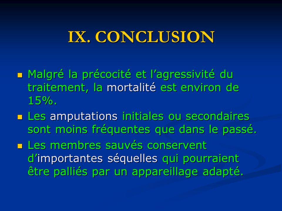IX. CONCLUSION Malgré la précocité et l'agressivité du traitement, la mortalité est environ de 15%.
