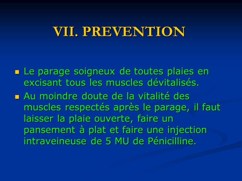 VII. PREVENTION Le parage soigneux de toutes plaies en excisant tous les muscles dévitalisés.