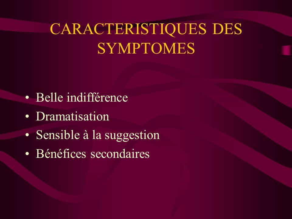 CARACTERISTIQUES DES SYMPTOMES
