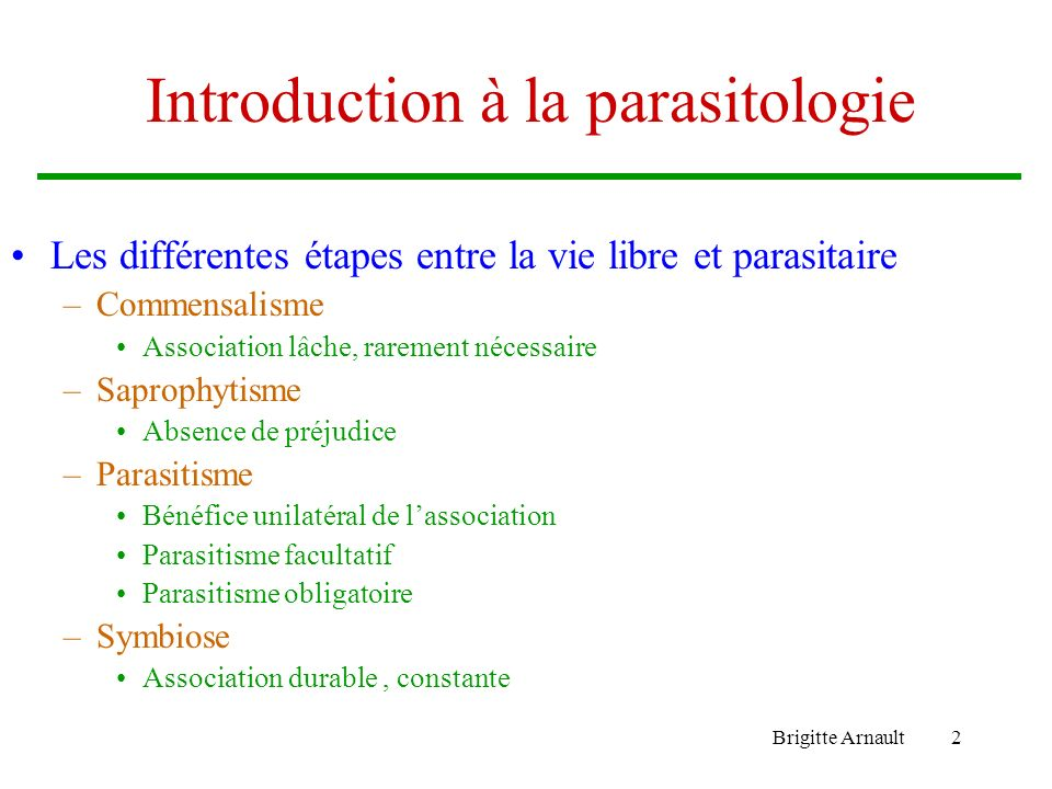 Introduction à la parasitologie