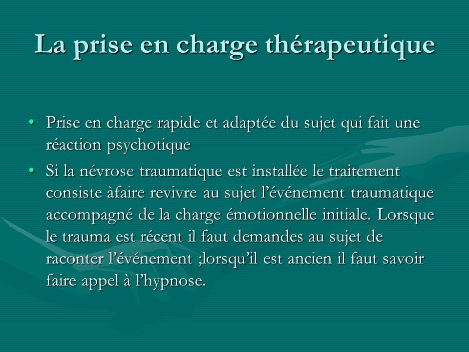 La prise en charge thérapeutique