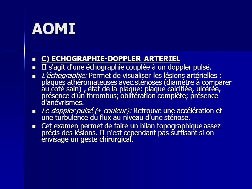 AOMI C) ECHOGRAPHIE-DOPPLER ARTERIEL