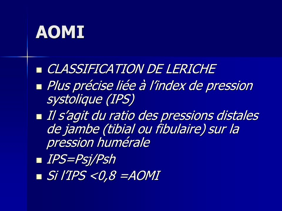 AOMI CLASSIFICATION DE LERICHE