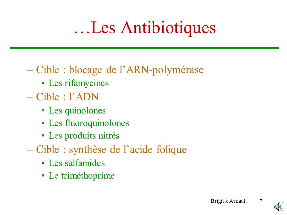 …Les Antibiotiques Cible : blocage de l'ARN-polymérase Cible : l'ADN