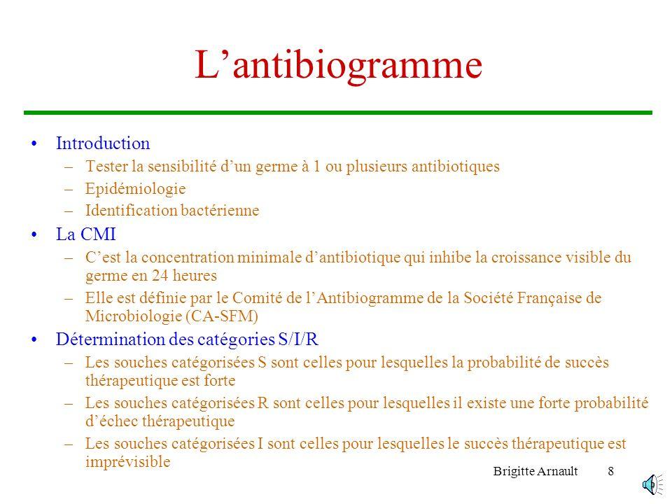 L'antibiogramme Introduction La CMI Détermination des catégories S/I/R