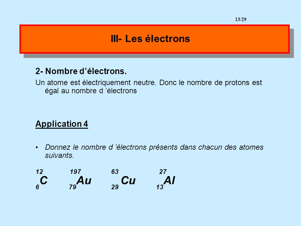 III- Les électrons 12 197 63 27 2- Nombre d'électrons. Application 4
