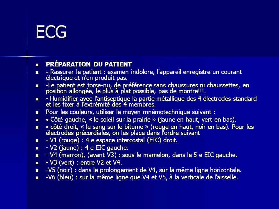 ECG PRÉPARATION DU PATIENT