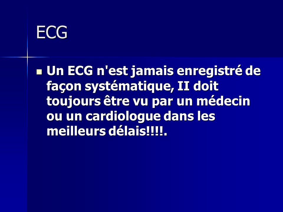 ECGUn ECG n est jamais enregistré de façon systématique, II doit toujours être vu par un médecin ou un cardiologue dans les meilleurs délais!!!!.