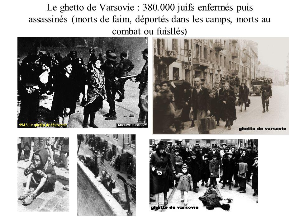 Le ghetto de Varsovie : 380.000 juifs enfermés puis assassinés (morts de faim, déportés dans les camps, morts au combat ou fuisllés)