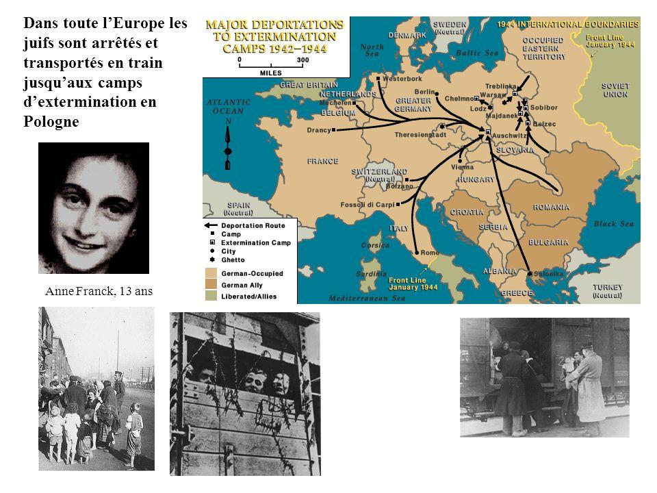 Dans toute l'Europe les juifs sont arrêtés et transportés en train jusqu'aux camps d'extermination en Pologne