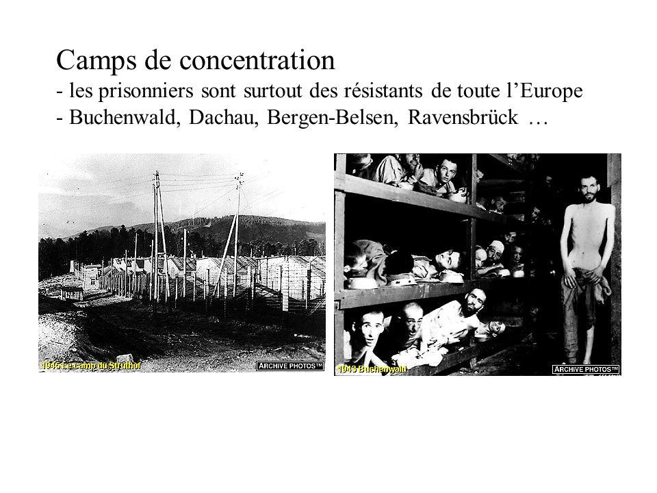 Camps de concentration - les prisonniers sont surtout des résistants de toute l'Europe - Buchenwald, Dachau, Bergen-Belsen, Ravensbrück …