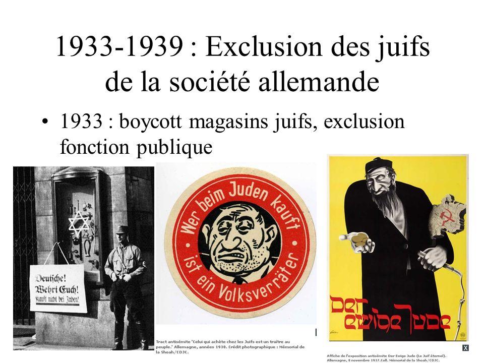1933-1939 : Exclusion des juifs de la société allemande