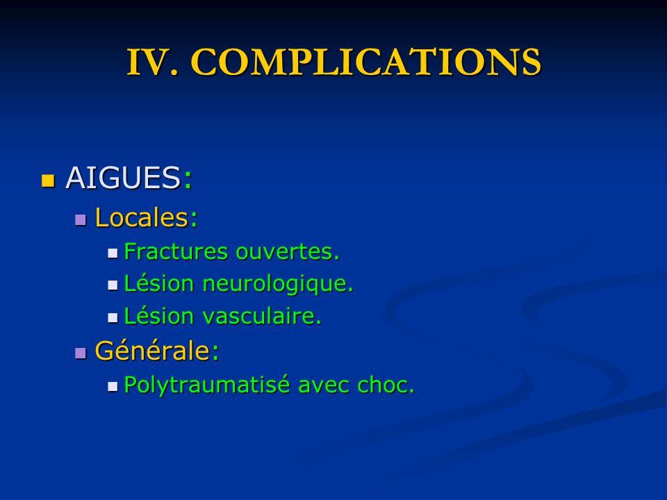 IV. COMPLICATIONS AIGUES: Locales: Générale: Fractures ouvertes.