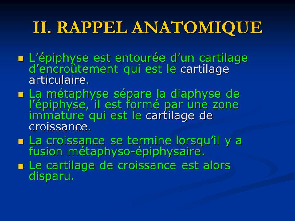 II. RAPPEL ANATOMIQUE L'épiphyse est entourée d'un cartilage d'encroûtement qui est le cartilage articulaire.
