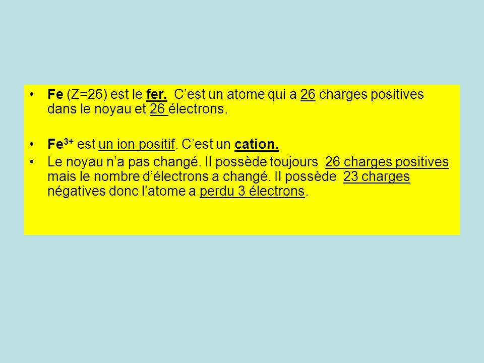 Fe (Z=26) est le fer. C'est un atome qui a 26 charges positives dans le noyau et 26 électrons.