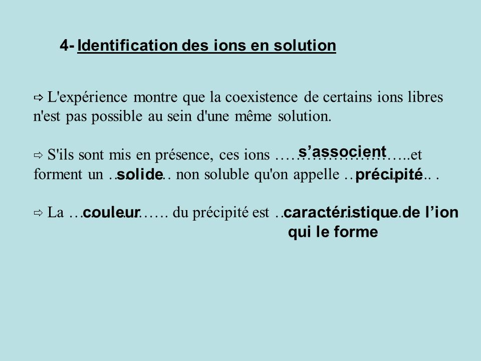 4- Identification des ions en solution