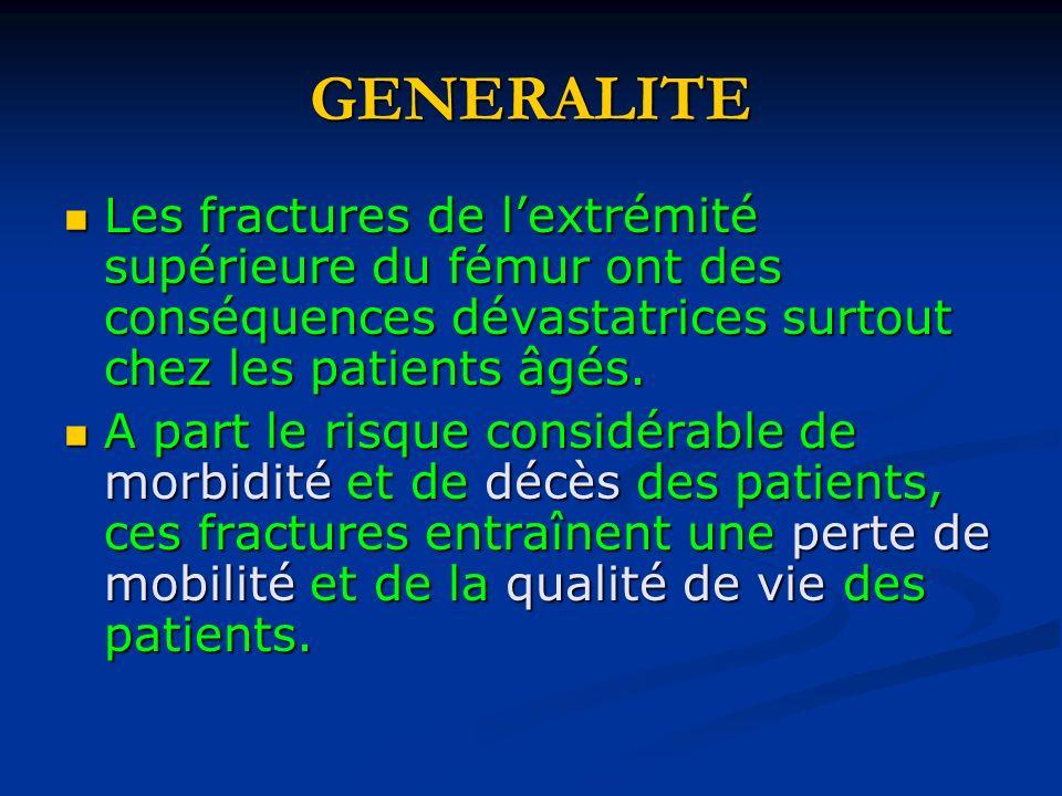 GENERALITELes fractures de l'extrémité supérieure du fémur ont des conséquences dévastatrices surtout chez les patients âgés.