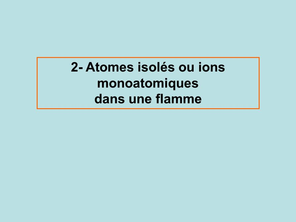 2- Atomes isolés ou ions monoatomiques