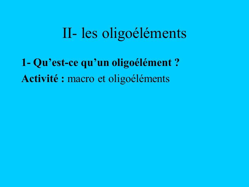 II- les oligoéléments 1- Qu'est-ce qu'un oligoélément