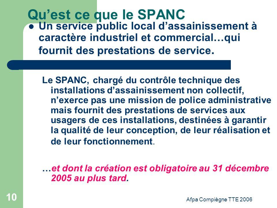 Qu'est ce que le SPANC Un service public local d'assainissement à caractère industriel et commercial…qui fournit des prestations de service.