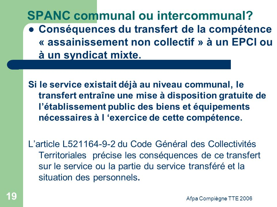 SPANC communal ou intercommunal