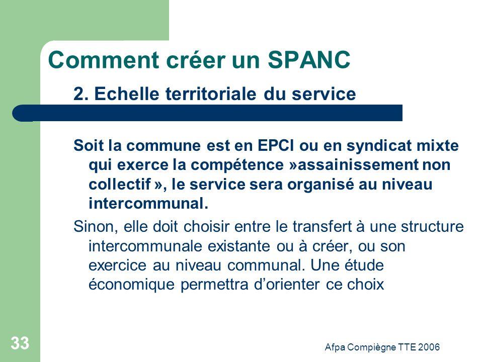Comment créer un SPANC 2. Echelle territoriale du service