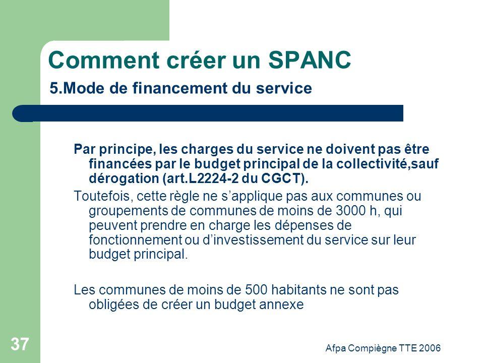Comment créer un SPANC 5.Mode de financement du service