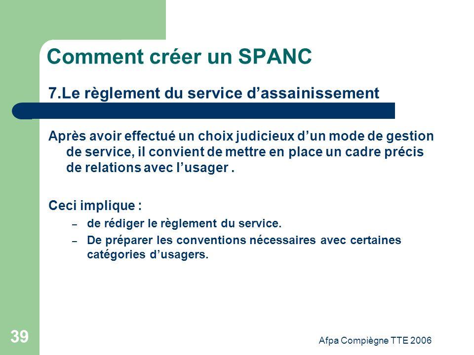 Comment créer un SPANC 7.Le règlement du service d'assainissement