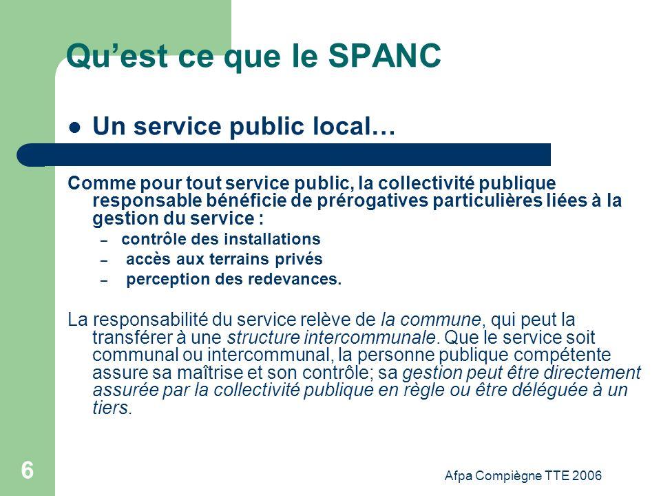 Qu'est ce que le SPANC Un service public local…