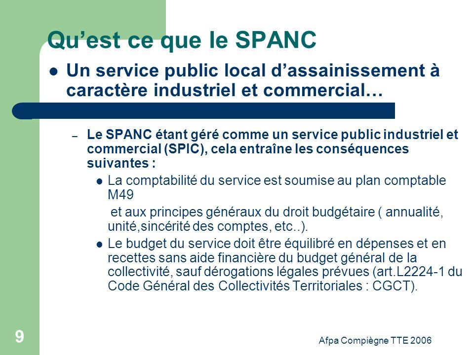 Qu'est ce que le SPANC Un service public local d'assainissement à caractère industriel et commercial…
