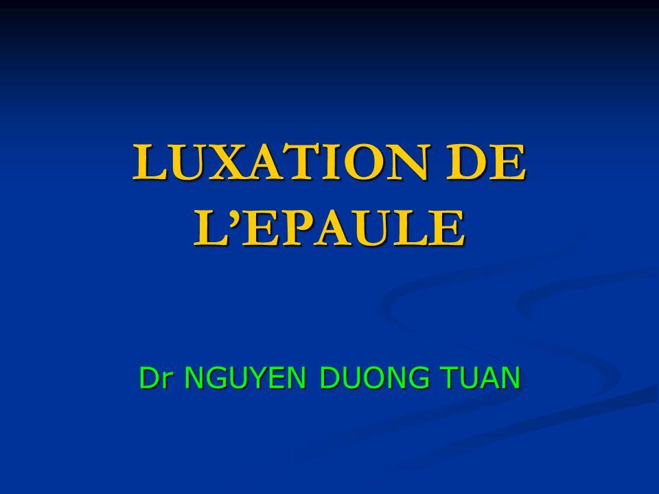 LUXATION DE L'EPAULE Dr NGUYEN DUONG TUAN