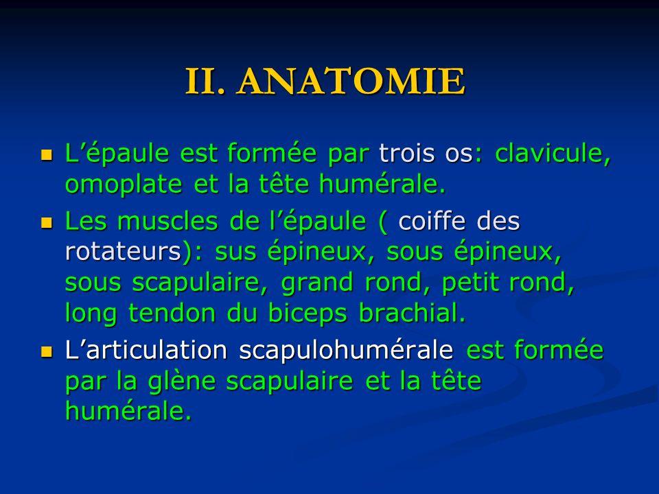 II. ANATOMIEL'épaule est formée par trois os: clavicule, omoplate et la tête humérale.